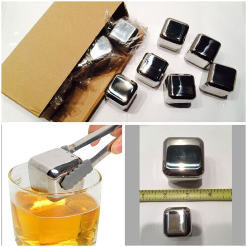 1-10 40mm Jumbo Whiskey Whisky Stones Stainless Steel Ice Cube Wine Chiller USA