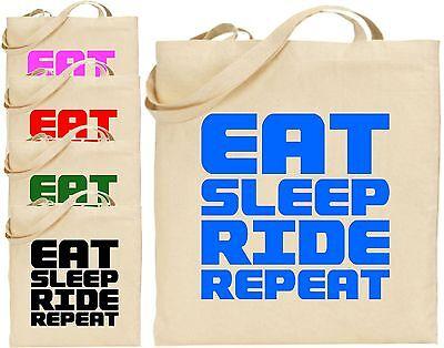 Eat Sleep Ride Wiederholen Sie Die Groß Baumwolltasche Einkaufstasche Cool Spaß