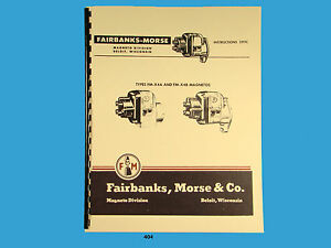 Details about Fairbanks Morse Magneto Instruct & Parts Manual for FM-X4A on