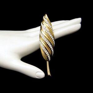 MARVELLA-Vintage-Goldtone-Leaf-Brooch-Pin-Sparkling-Rhinestones-NOS-Beautiful