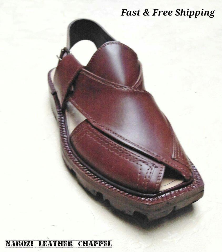 LEATHER NOROZI HANDMADE Uomo PESHAWRI MAROON CHAPPEL WITH CUT SOLE