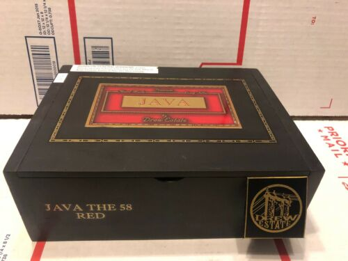 Drew Estate Java The Red 58 Black Hinged Solid  Wood Wooden Cigar Box