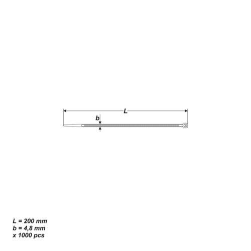 1000 X UV stabile FASCETTE PER CAVI NERO 4,8 x 200 mm portata 22,2 kg non risolvere