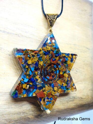 Orgone Generator Chakra Large Pendant Reiki Star Copper EMF protection Necklace