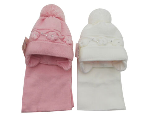 Details about  /BNWT girls warm winter flower /& diamante bobble hat /& scarf 12m to 3 Years