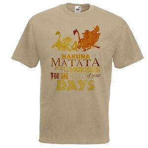Mens-Khaki-Lion-King-039-Hakuna-Matata-039-Song-T-Shirt-Simone-Pumba-amp-Simba-Top