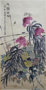 Excellent-Chinese-100-Handed-Painting-amp-Scroll-034-Flowers-034-By-Qi-baishi-AW2
