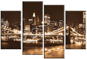 9da0f209bbc LARGE BROWN SEPIA NEW YORK SKYLINE CITY CANVAS WALL ART MULTI PANEL ...