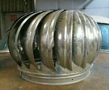 "Vintage 14"" Galvanized Metal Barn Roof Spinning Vent Wind Air Turbine Antique"