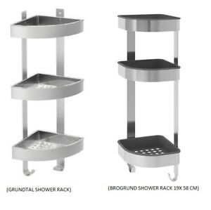 Details About Corner Shower Rack Stainless Steel 3 Tier Bathroom Wall Shelf Ikea