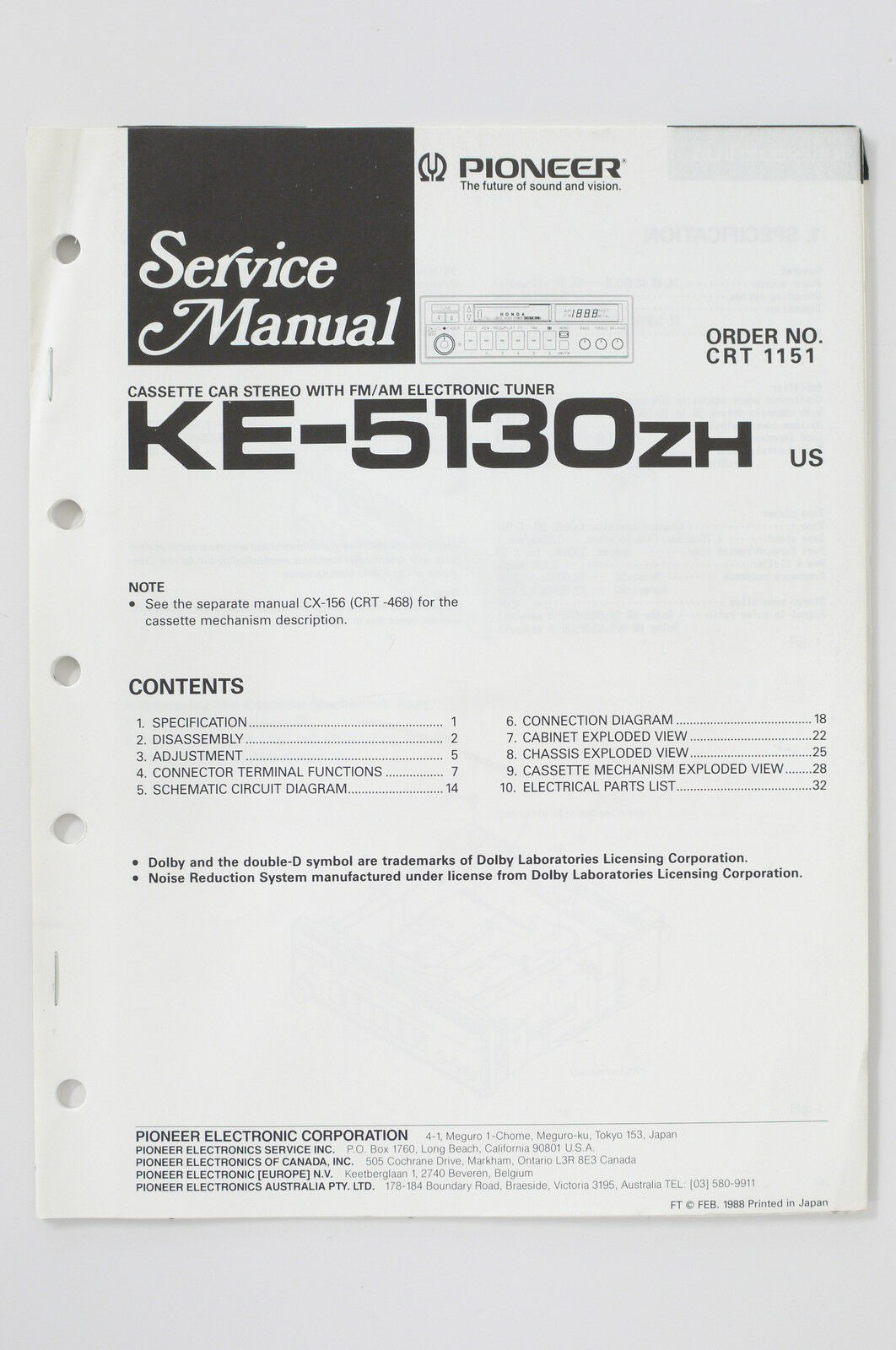 Pioneer Electronics Wiring Diagram Detailed Schematics Avic F700bt Ke 5130 Zh Original Service Manual Guide Polk Audio
