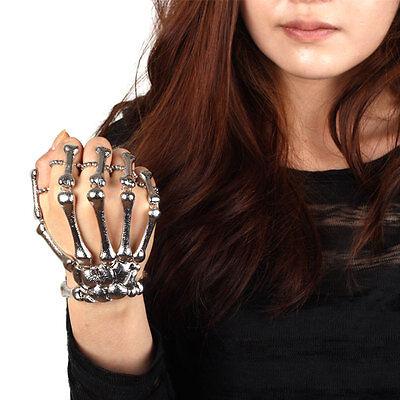 Fashion Halloween Hand Skeleton Bone Elastic Bracelet Ring