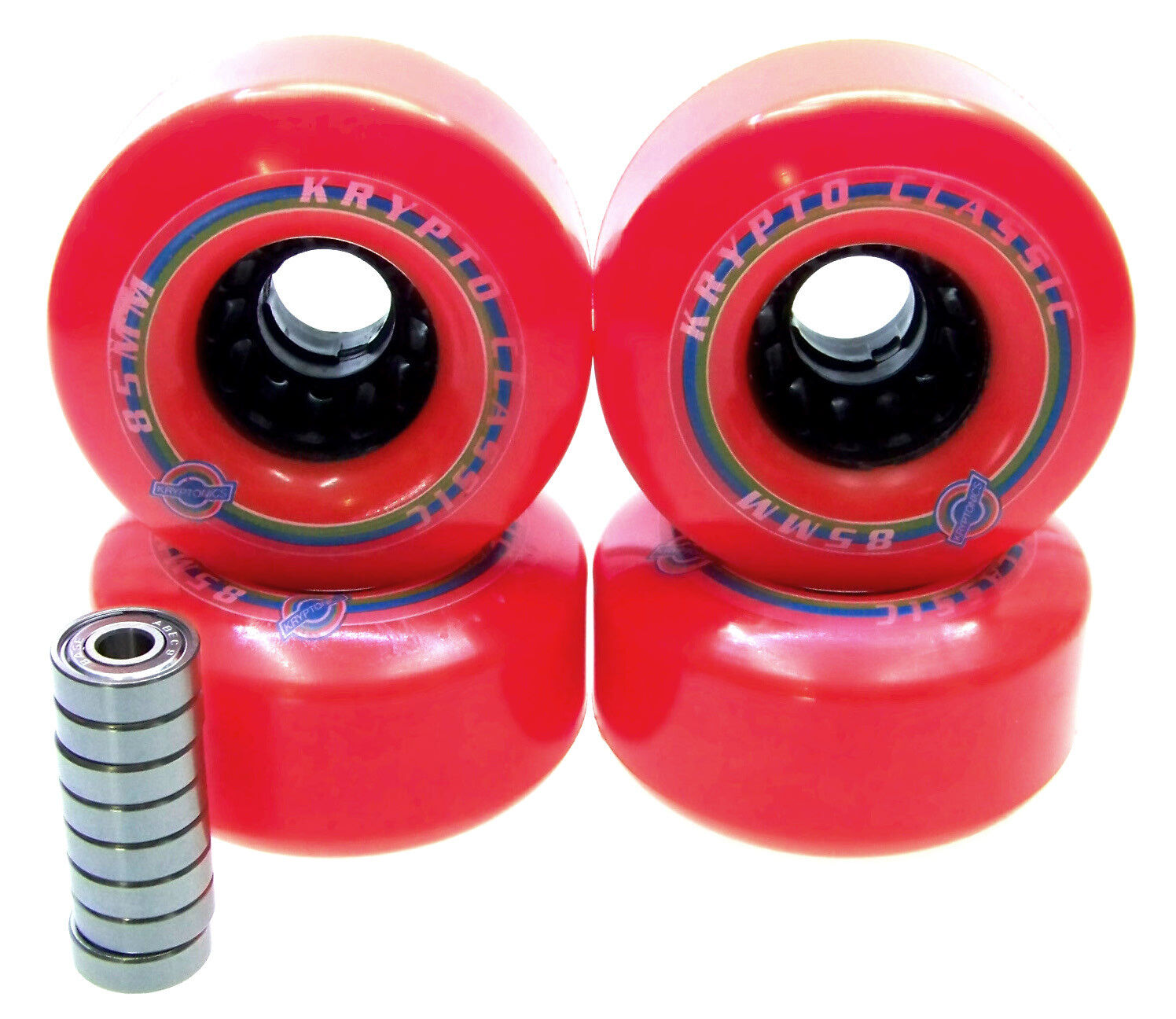 Longboard Rolle Kryptonics Classic 85mm / 80A ABEC Lager Set Ersatzrolle ROT