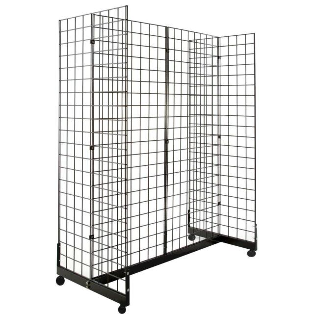 Display Grid Rack 4 Panels Rolling Metal Retail Wall Craft Show Art