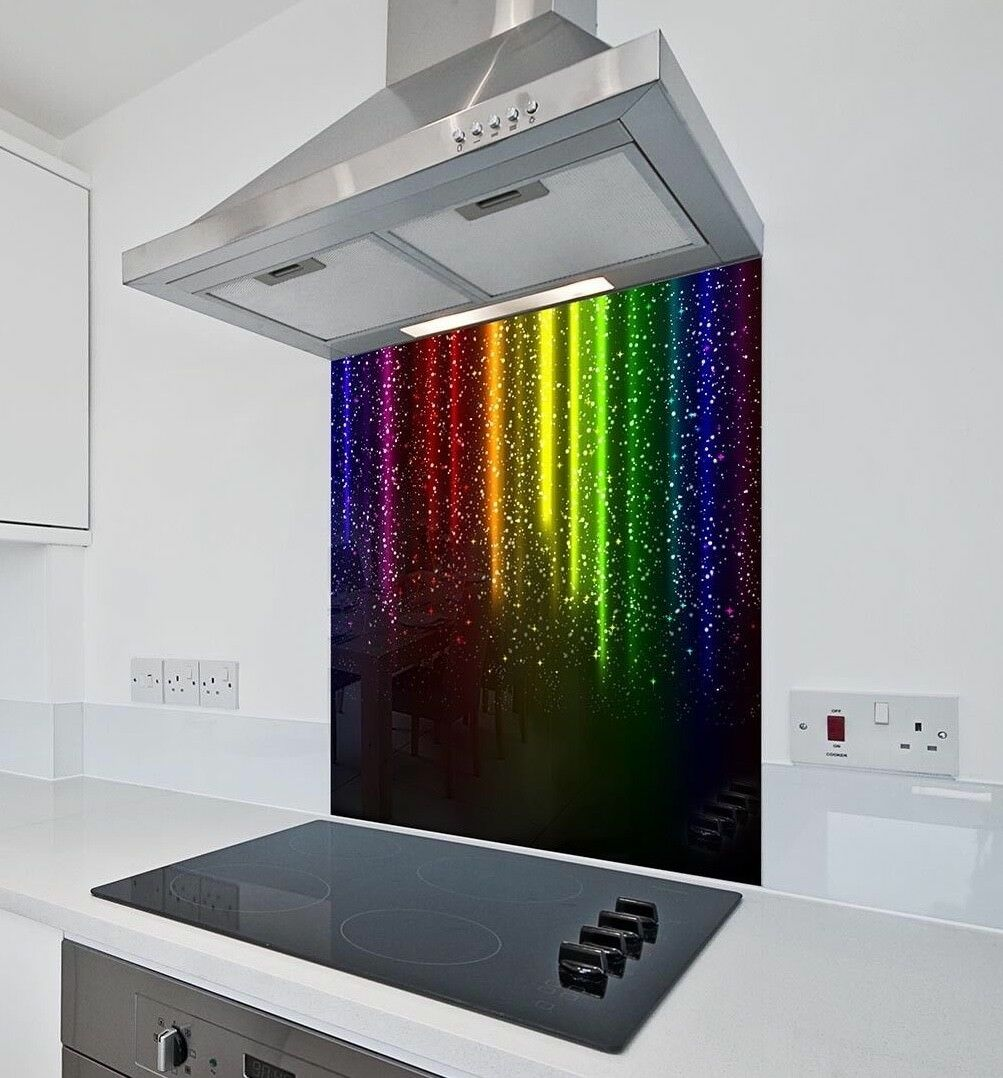PIOGGIA Multicolore Vetro Splashback in varie taglie resistente al calore fino a 500 ° C