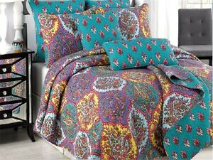 Tache-Purple-Spring-Floral-Paisley-Damask-Reversible-Bedspread-Quilt-Set-Queen