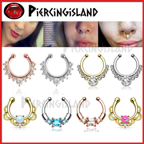 Opal Gem Fake Clip On Nose Ear Hanger Ring Septum Clicker Piercing Jewellery 1pc