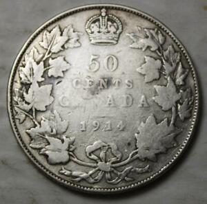 Canada-1914-Silver-50-Cents-Better-Old-Date-KGV