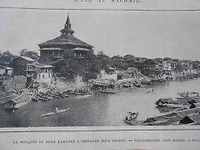 Kachmir Mosquée de Shah Hamadan à Shinagar  Image Print 1905