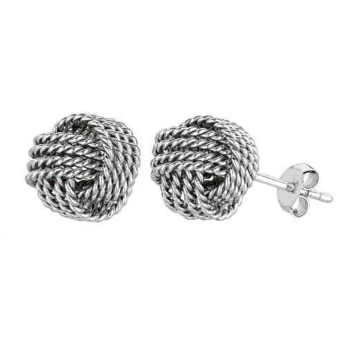 Sterling Silver Rhodium Finish 9mm Twisted Cable Love Knot Earrings