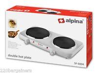 Alpina Sf6004 220-240 Volt Double Hot Plate Burner 220v 240v Overseas Use