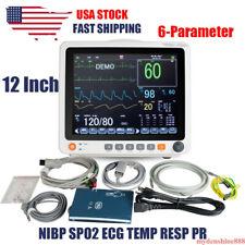 Portable 12 Touch Patient Monitor Vital Signs 6 Parameter Ecg Nibp Resp Spo2 Pr