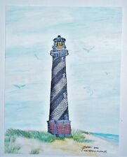 ORIGINAL 11x8.5 WATERCOLOR LIGHTHOUSE PAINTING By G.BEEKMAN~CAPE HATTERAS