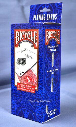 BICYCLE PLAYING CARDS Standard Size /& Face 12 Pack 6 Blue Decks 6 Red Decks #808