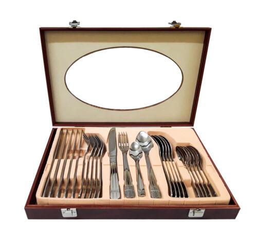 24 pieces acier inoxydable Couverts Set dans boîte en bois Fourchette Cuillère Couteau