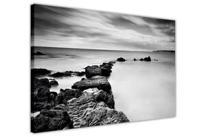 BLACK-AND-WHITE-CANVAS-WALL-ART-PRINTS-SEA-COAST-ROCKS-PHOTO-PRINTING-PICTURES