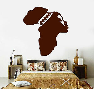 Vinyl Wall Decal Africa Map Beautiful Woman African Ethnic ...