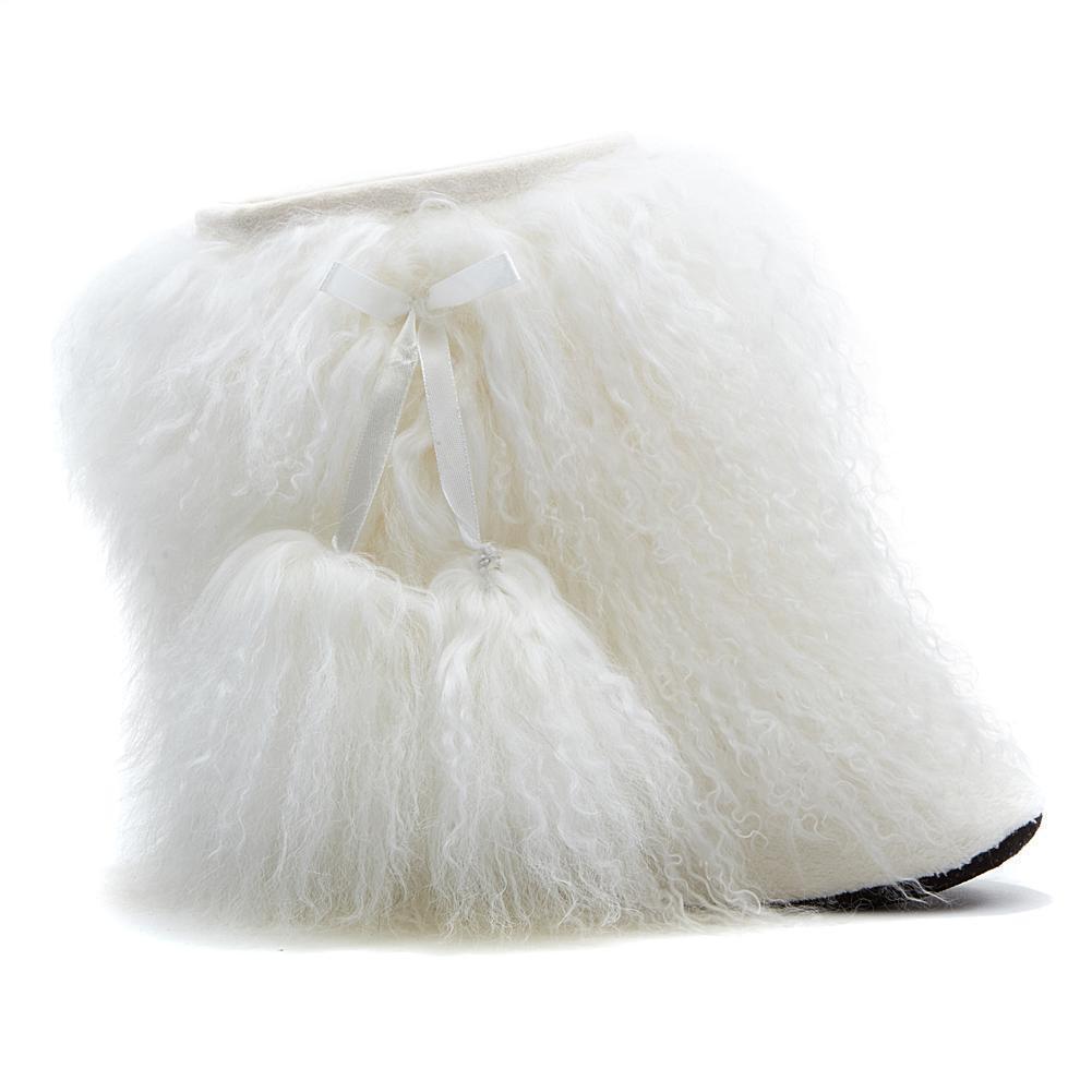 Rara Avis by Iris Apfel Mongolian Fur Booties Ivory Größe Medium (7-8) NIP