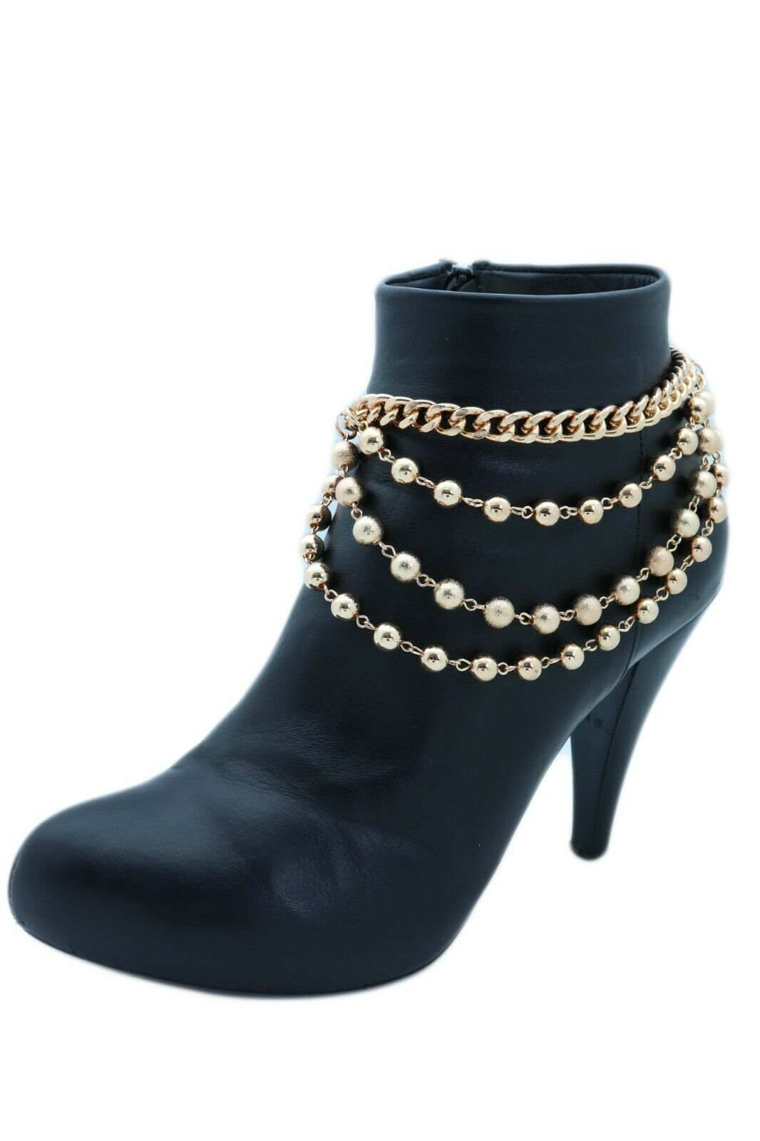 Women Gold Metal Western Boot Chain Bracelet Anklet Shoe Bling Waves Balls Charm