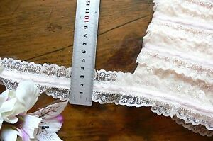 Poly Gathered IVORY Lace with 4mm LIGHT PINK Satin Thread 5 Metres 44mm Wide FRL