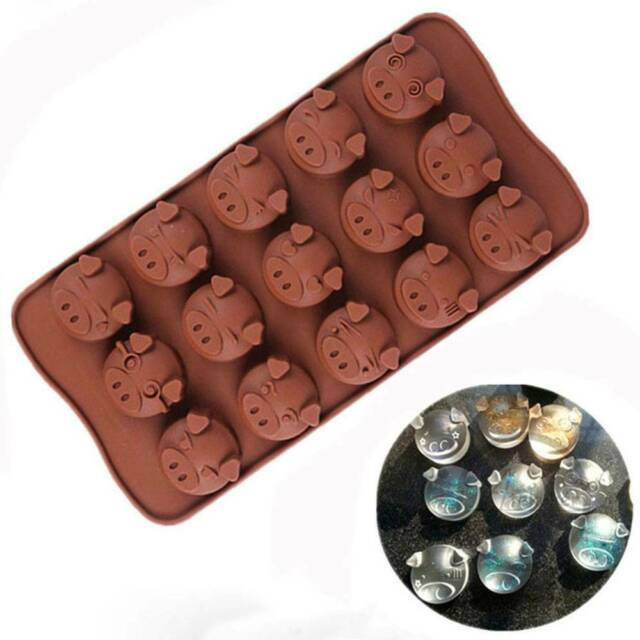 15 Holes Cute Pig Shaped Silicone Mould Chocolate Cookies Cake Decoration Mold n
