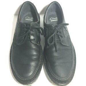 mens clarks lace up ortholite soft cushion black leather