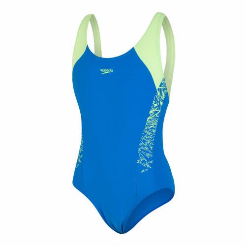Speedo Boom Splice Muscleback Girls Swimsuit Blue Zest
