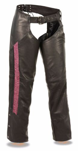 Ladies Black Lightweight Leather Low Rise Chaps w Hot Pink Crinkled Leg Striping