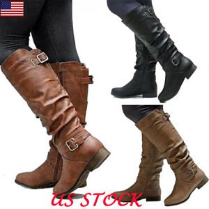 Women-039-s-Fashion-Zipper-Low-Heel-Riding-Knee-High-Boots-Shoes-Size-5-5-8-US-STOCK