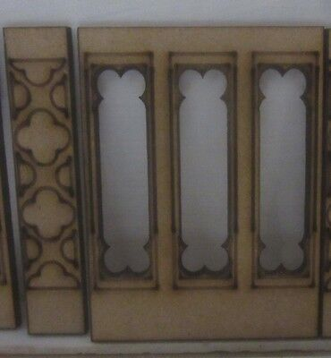Dolls House 12th scale  Gothic Wall Panelling No1 plus 1 upright     MDF101-6