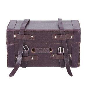 1:12 muñeca casa miniatura De Cuero Vintage Maleta De Madera Mini Caja de equipaje V1X6