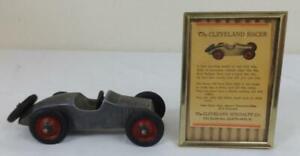Antique-1930-039-s-Aluminum-Cleveland-Race-Car-Toy-w-Advertisement