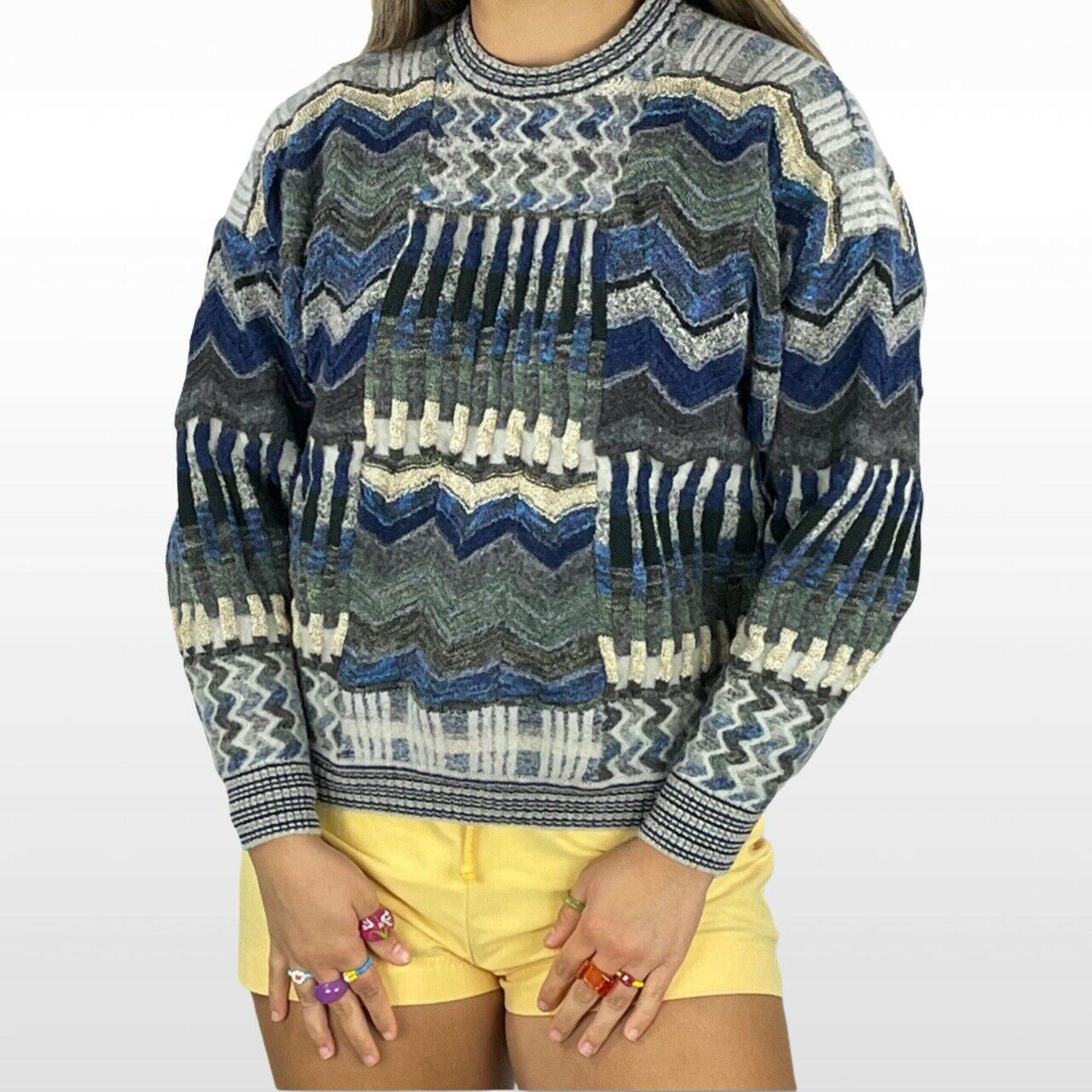 Abstract textured knit sweater - image 2