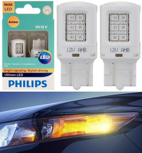 Philips Ultinon LED Light 7443 Amber Orange Two Bulbs Front Turn Signal Replace