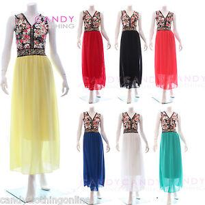Ladies-Maxi-Dress-Sleeveless-Long-Skirt-Summer-Zip-Chiffon-Boho-Size-8-10-12-14
