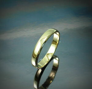 Solid-9ct-Yellow-Gold-3mm-Wedding-Band-Ring-D-Shape-Jewellery-Various-Size