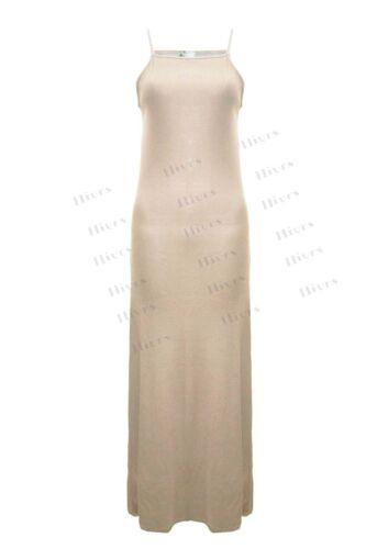 Womens Cami Ribbed Maxi Dress Ladies maxi Strap Vest lot High Neck Party Maxi