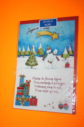 CARTE POSTALE JOYEUX NOEL ours polaire enveloppe rouge 11,5 x 16,5 cm  Sapin