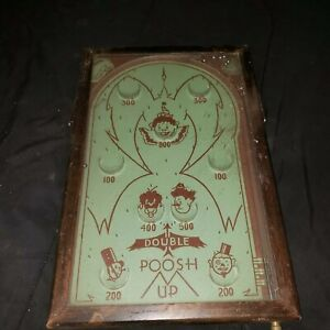 Antique-Double-Poosh-M-Up-Clowns-Pin-Ball-Toy-Table-Top-Game-Wall-Decor