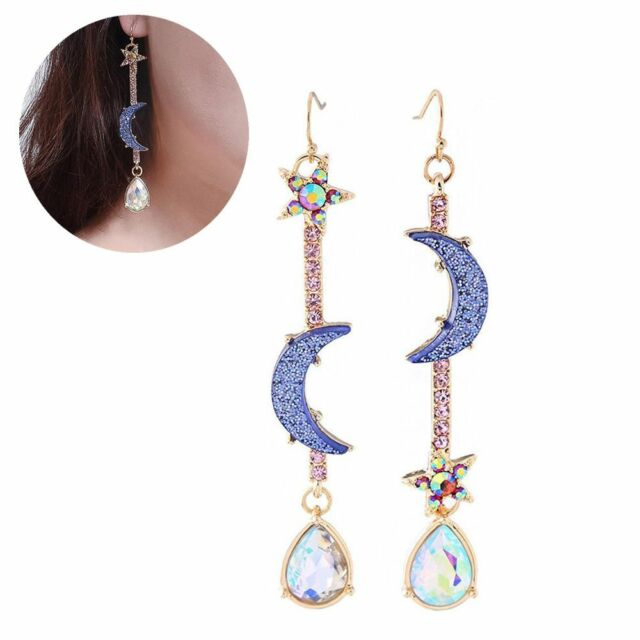 Women's Blue Moon&Star Crystal Earrings Jewelry Asymmetric Dangle Earrings--